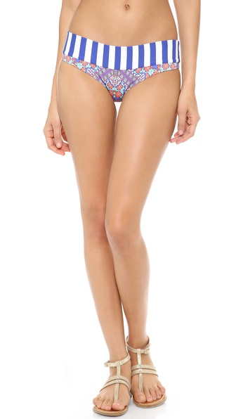 Shop OndadeMar online and buy Ondademar Essence Bikini Bottoms Multi - A striped, fold over top line accents these floral OndadeMar bikini bottoms. Lined. 90% nylon/10% spandex. Hand wash. Imported, Colombia. Available sizes: XS