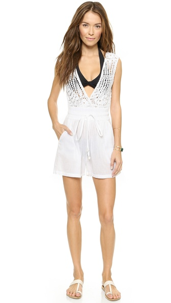 Shop OndadeMar online and buy Ondademar Light Glam Romper Glam - This romper has a sexy, plunging V neckline at the crocheted bodice. Beaded drawstrings tie at the wide elastic waist. Semi sheer. Fabric: Crochet knit / gauze. 100% cotton. Hand wash. Imported, Colombia. Measurements Inseam: 2.75in / 7cm Measurements from size S. Available sizes: M,S
