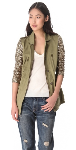 ONE by Twill Jacket with Sequin Sleeves