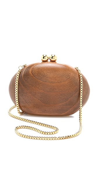 ONE by Malini Murjani Blondie Wood Clutch