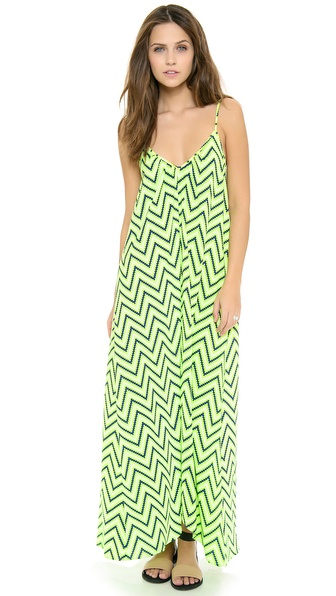 Shop ONE by Pink Stitch online and buy One By Pink Stitch Resort Maxi Dress Lime Zigzag - Description Pink Stitch , part of Shopbop's ONE by collection. ONE by is home to exceptional pieces that represent the top of their categories. A print maxi dress moves with ease, while a cutout back reveals a sexy peek of skin. Ruching enhances the billowing silhouette, which ends in a subtly uneven hem. Adjustable spaghetti straps. Unlined. Fabric: Soft weave. 65% polyester/35% rayon. Hand wash. Imported, China. MEASUREMENTS Length: 50in / 127cm, from front shoulder Length: 53in / 134.5cm, from back shoulder. Available sizes: 4