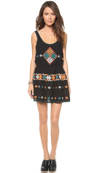 Shop ONE by Gat Rimon online and buy One By Gat Rimon Sleeveless Dress Noir - Description Gat Rimon , selected for Shopbops ONE by collection for its beach to street approach to French fashion. ONE by is home to exceptional pieces from established and emerging designers. Colorful embroidery adds a geometric touch to this airy, lightweight mini dress. Zigzag threads trace the neckline and arm openings. Gathered elastic waist. Lined. Fabric: Embroidered, open weave. 100% cotton. Dry clean. Imported, India. MEASUREMENTS Length: 31in / 7.5cm, from shoulder. Available sizes: 1,2,3