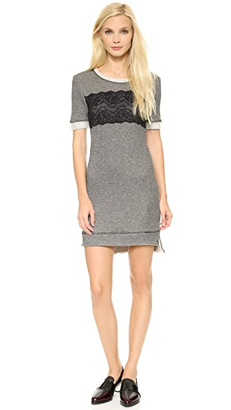 ONE by WREN Lace Sweatshirt Mini Dress