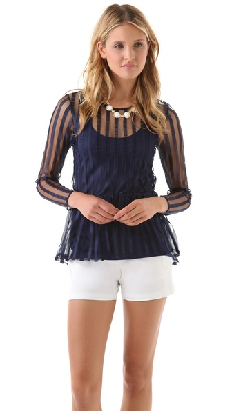 Only Hearts Satin Striped Peplum Top