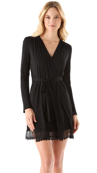 Only Hearts Venice Short Robe with Lace Hem