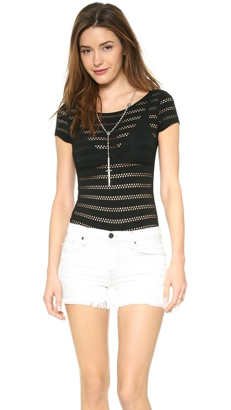 Only Hearts Eyelet Cap Sleeve Bodysuit