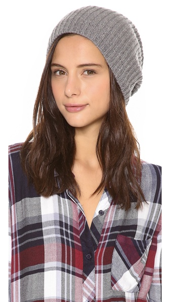 1717 Olive Cashmere Rib Slouch Beanie