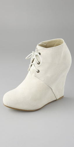 Opening Ceremony Corset Suede Wedge Booties