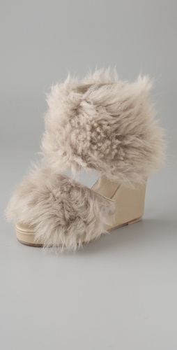 Opening Ceremony Fur Wedge Sandal Booties
