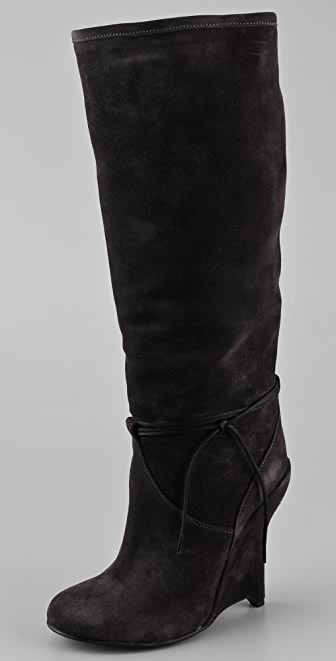 Opening Ceremony Agyness Tall Suede Wedge Boots