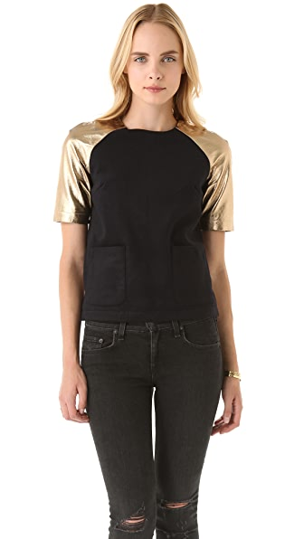 Opening Ceremony Metallic Leather Raglan Tee