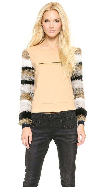 Opening Ceremony Keaton Fur Sleeve Pullover - Nude