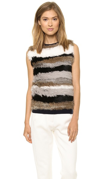 Opening Ceremony Striped Fur Sleeveless Pullover