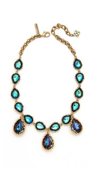 Oscar de la Renta Large Crystal Teardrop Necklace
