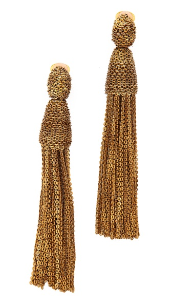 Oscar de la Renta Long Chain Tassel Clip On Earrings
