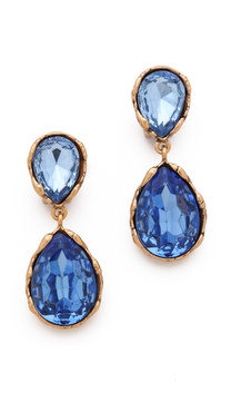 Oscar de la Renta Large Crystal Clip On Earrings