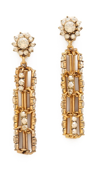 Oscar de la Renta Crystal Link Drop Clip On Earrings