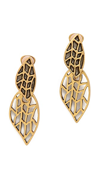 Oscar de la Renta Leaf Clip On Earrings