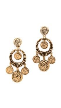 Oscar de la Renta Coin Clip On Earrings