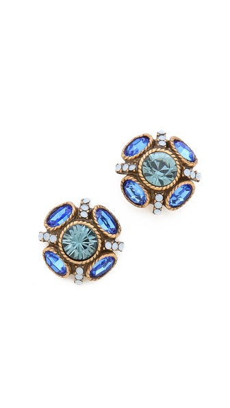 Oscar de la Renta Crystal Button Earrings