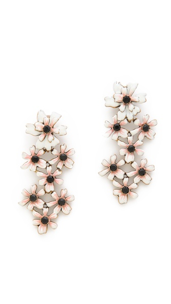 Oscar de la Renta Enamel Painted Multi Flower Clip On Earrings