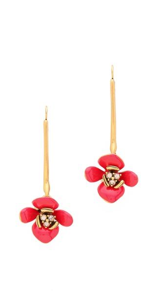 Oscar de la Renta Enamel Painted Flower Earrings