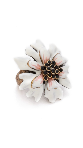 Oscar de la Renta Enamel Painted Carnation Ring