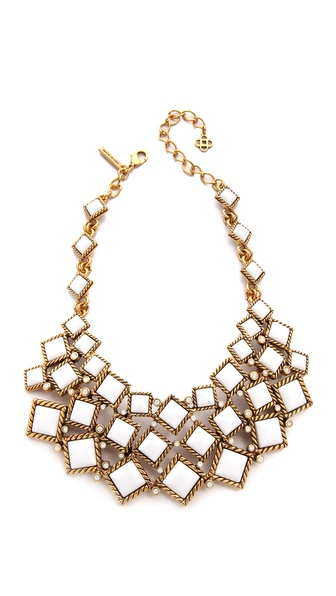 Oscar de la Renta Multi Diamond Resin Necklace