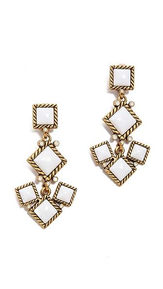 Oscar de la Renta Multi Resin Jewel Clip On Earrings