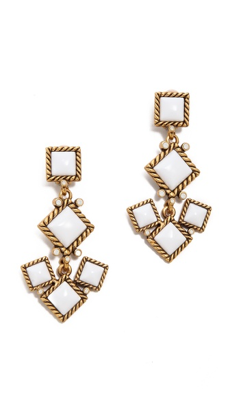 Oscar de la Renta Multi Resin Jewel Clip On Earrings
