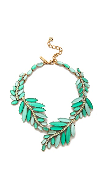 Oscar de la Renta Marquise Stone Resin Leaf Necklace