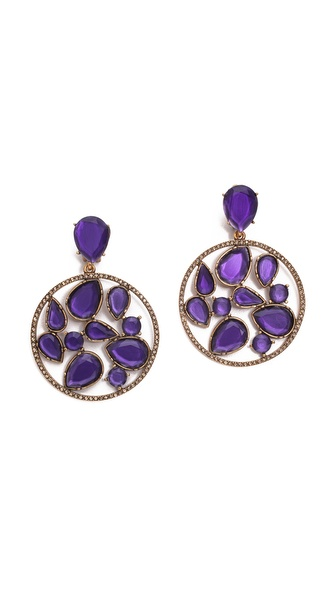 Oscar de la Renta Round Multi Clip On Earrings