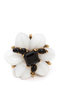 Oscar de la Renta Resin Flower & Cabochon Ring
