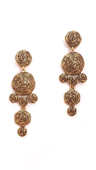 Oscar de la Renta Swirl Drop Clip On Earrings