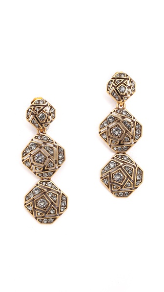Oscar de la Renta Rose Pave Clip On Earrings