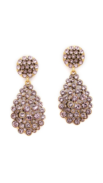 Oscar de la Renta Teardrop Clip On Earrings