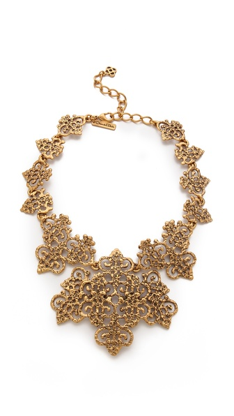 Oscar de la Renta Gold Lace Necklace