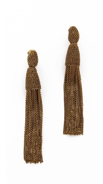 Oscar de la Renta Long Chain Tassel Earrings