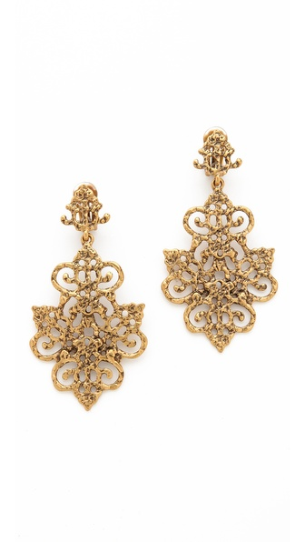 Oscar de la Renta Gold Tone Lace Earrings