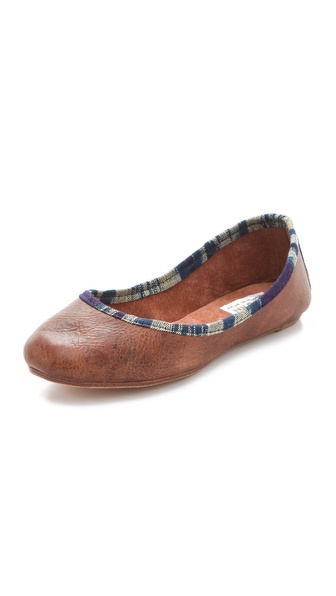 Osborn Leather Flats with Ikat Trim