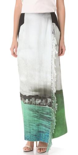 Osklen Crestwood Fringe Wrap Skirt
