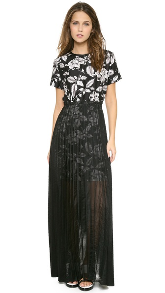 Ostwald Helgason Sheer Pleated Maxi Dress