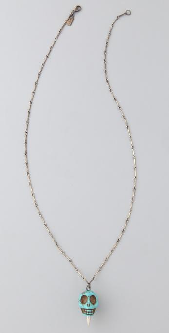 Pamela Love Turquoise Howlite Skull Pendant Necklace