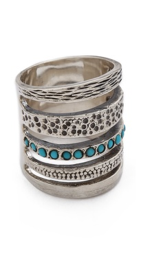 Pamela Love Single Cage Ring with Turquoise