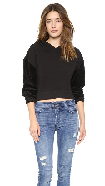 Pam & Gela Crop Hoodie with Quilted Velour Sleeves
