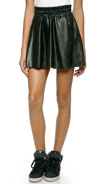 Pam & Gela Faux Leather Skater Skirt