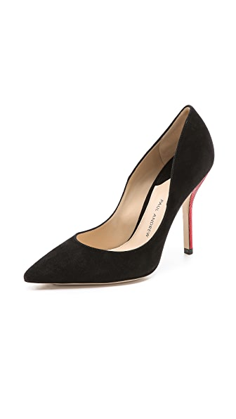 Paul Andrew Shakti Suede Pumps with Lizard Heel