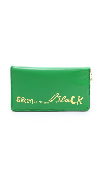 Paris House Green is the New Black Travel Wallet