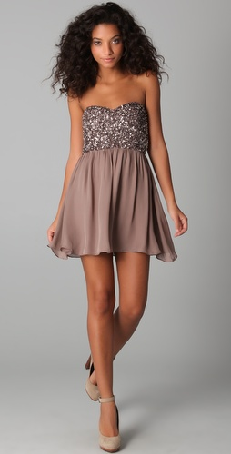 Parker Cluster Beaded Strapless Dress