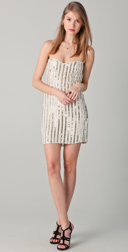 Parker Pinstripe Sequin Strapless Dress